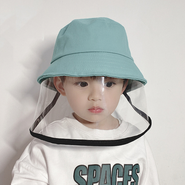 Protective Face Shield Cover Hat Anti Dust Cotton Fisherman Hat for Kids Reusable Anti Droplet Hat Mask Protective Cap