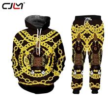 CJLM dres męski złoty łańcuch z kapturem zestaw 2 sztuk Hip Hop dres męski Fitness stojak kołnierz bluzy kurtka spodnie zestawy tanie tanio CN (pochodzenie) O-neck Elastyczny pas NONE Poliester Pełna Na co dzień Polyester Spandex PATTERN Drukuj Hip Hop Hoodies Sweatshirts and Pants