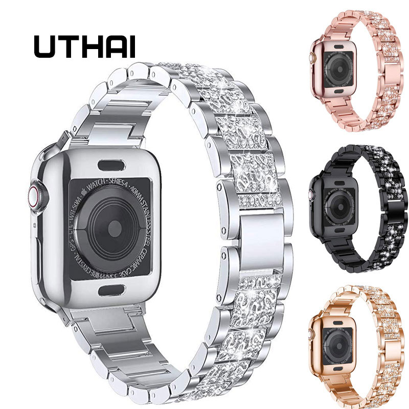 UTHAI P50 Stainless Steel Strap For Apple Watch Band 44 Mm 40mm IWatch Band 42mm/38mm  Diamond Strap For Apple Watch Watchband