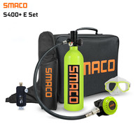 SMACO S400 PLUS 1L Mini Scuba Diving Cylinder Oxygen Tank with Upgraded Breathing Valve Scuba Adapter Diving Glasses Handbag