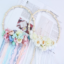 New Arrivals Nordic Style Wooden Beads Hair Ball Garland Tassel Wall Decoration Girl Accessories Photography Props Hot Sale