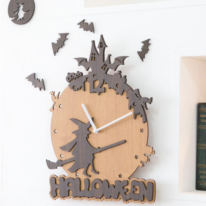 Wooden Wall Clock Modern Design Christmas Decorations For Home 3D Stickers Wood Halloween Clocks Wall Watch Home Decor Silent