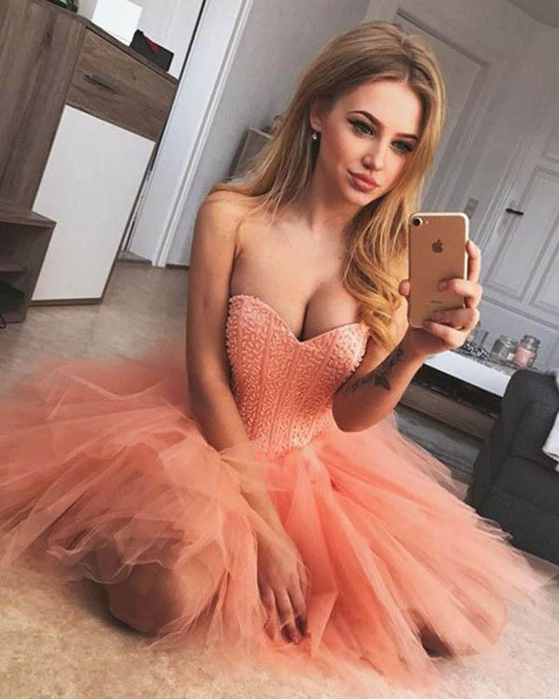 2019 Coral   Cocktail     Dresses   Short Beaded Ruffles Tulle Skirt Sweetheart Corset Back Lovely Homecoming   Dresses   Prom Party Gowns
