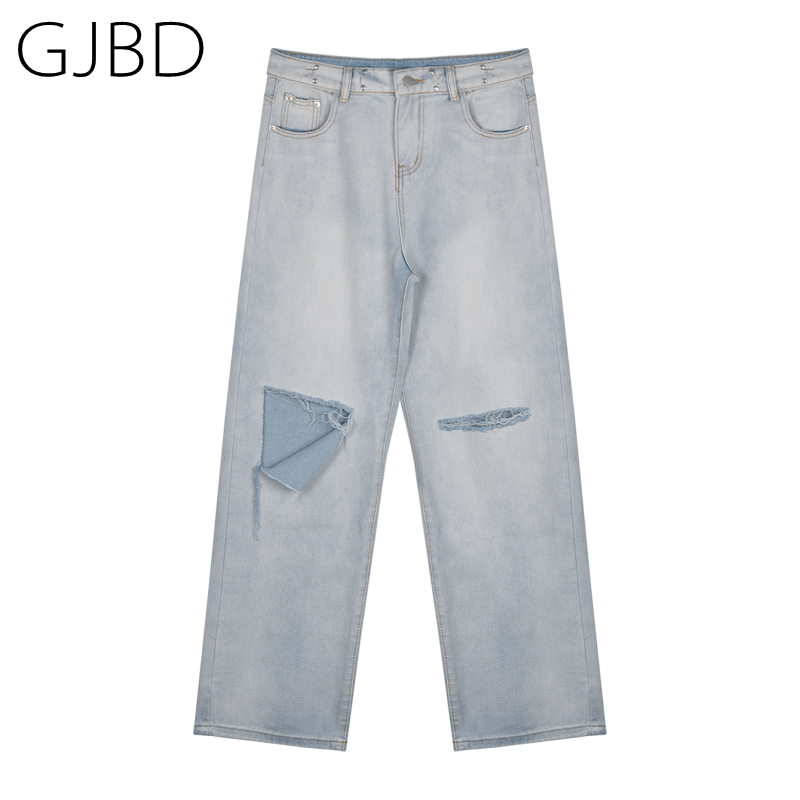 Women's Jeans 2021 Light Blue Vintage Ripped Streetwear High Waist Buckle Wide Leg Pants Y2k Baggy Washed Straight Denim Trouser