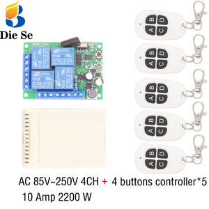 Image 1 - 433MHz Universal Wireless Remote Switch AC 110V 220V 10Amp 2200W 4CH Relay Receiver Module RF Controller for Light/LED opener