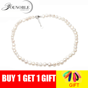 Real Freshwater Natural Pearl Necklaces For Woman,8-9mm White 925 Silver Wedding Pearl Necklace Girl Birthday Gift jyx round long pearl necklaces natural white 8 9mm freshwater pearl chains endless long sweater necklace