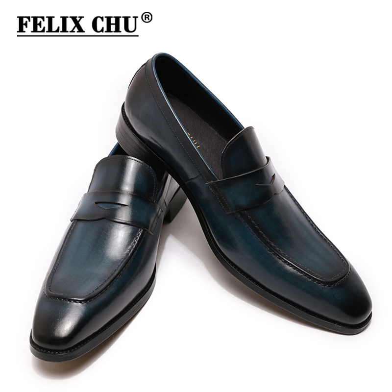 Size 8-15 Men's Penny Loafers Genuine Leather Blue Brown Business Dress Shoes For Men Quality Hand Painted Slip On Male Footwear