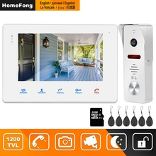 HomeFongวิดีโอIntercomประตูบ้านโทรศัพท์7นิ้ว1200TVLกล้องDeurbelสายประตูIntercomระบบ