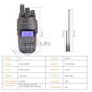 Image 2 - Tyt TH UV8000Dトランシーバー 10 キロデュアルバンドvhf uhf 10 ワットラジオcomunicador 10 キロ 3600 2600mahクロスバンドリピータ機能tytラジオ