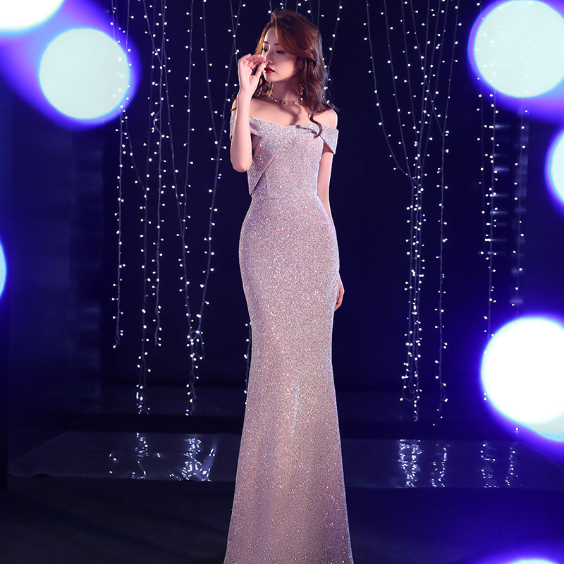 2020 Limited Banquet Evening Dresses Female 2020 New Sexy During A Long Tail Word Shoulder Sequins Web Celebrity Host Winter image
