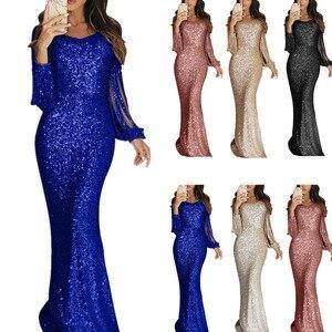 Image 1 - Lantejoulas tassel vestido de manga longa franja sukienka elegante vestidos de festa longos vestido de noite robe 2020 sexy vestido brilhante até o chão