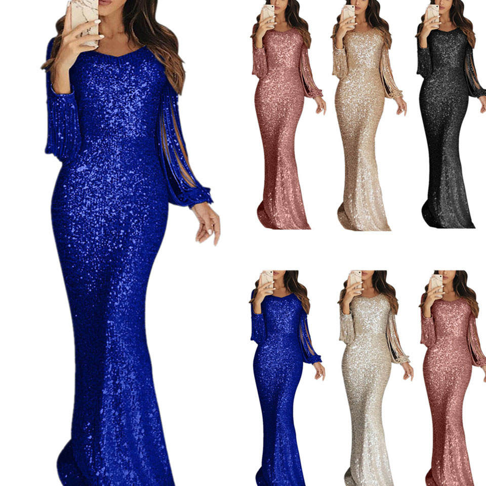 Sequin Tassel Long Sleeve Dress Fringe Sukienka Elegant Long Party Dresses Evening Robe 2019 Sexy Shiny Dress Floor Length Women