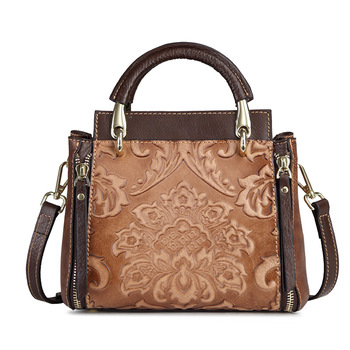 Genuine Leather Women Bucket Bags Vintage Leisure Handbag Cross Body Small Flap Multi-Layer Embossed Female Shoulder Tote Bag