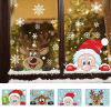 Santa Elk Christmas PVC Static Sticker Beautify Home Windows Large Snow Flake Wall Sticker New Year party decoration