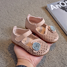 Spring Children Shoes for Girls Toddlers Flats Cut-outs Breathable with Flowers Sweet Princess Kids Floral Shoes Sweet 21-30 New cheap JGSHOWKITO 13-24m 25-36m 3-6y CN(Origin) Summer unisex Rubber Fits true to size take your normal size Hook Loop Anti-Slippery