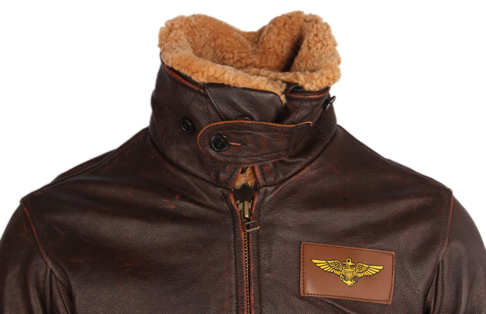 H15976b2a830c4fbeb75c943e05bb688db Vintage Distressed Men Leather Jacket Quilted Fur Collar 100% Calfskin Flight Jacket Men's Leather Jacket Man Winter Coat M253