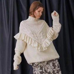 TEELYNN oversize trui voor vrouwen 2019 winter Ruche warme truien losse coltrui lange mouwen Gypsy trui dikke truien