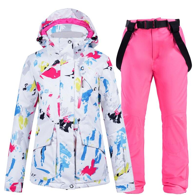 New Fashion Colorful Women's Snow Wear Snowboarding Suit Sets Waterproof Windproof Winter Sports Ski Jacket + Bibs Snow Pant