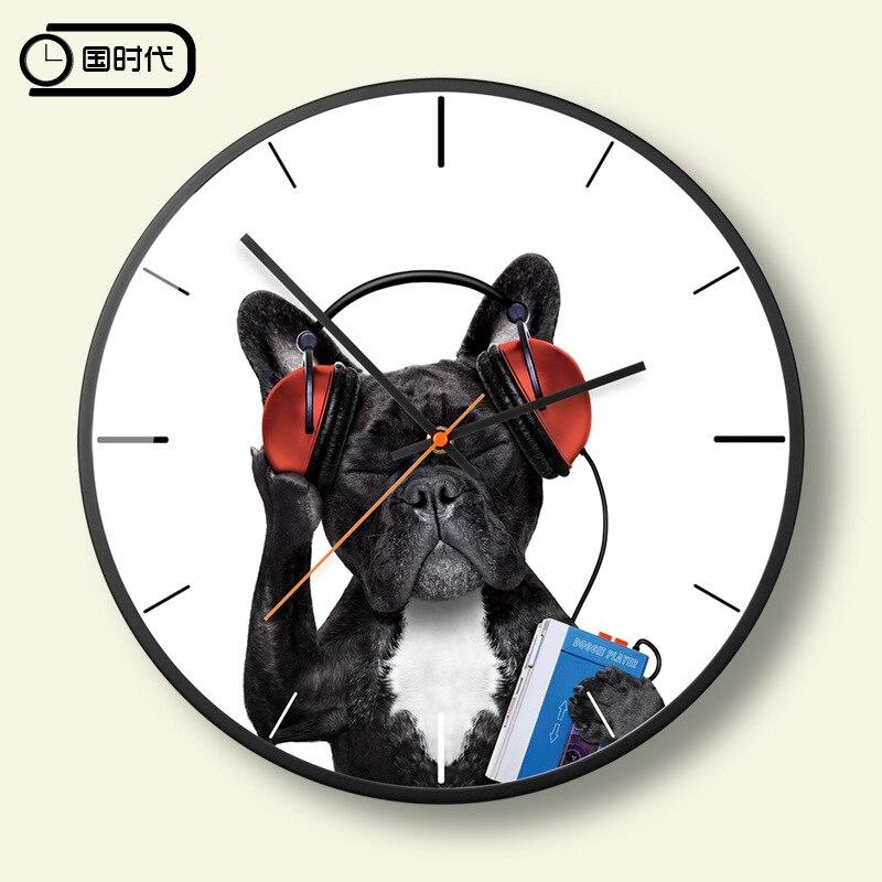 Belle horloge de chien silencieux Quartz horloge murale calme en métal décorations murales salon meilleure vente 2019 produits décor à la maison 5A32
