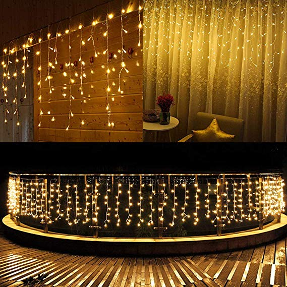 3.5M/5M Christmas Lights Street Garland Curtain Icicle String Light Droop 0.4-0.6m 8 Mode Party Garden Decorative Fairy Lights