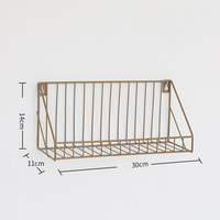 Vintage Wall Storage Unit Retro Wood Industrial Style Metal Wire Shelf Rack 2019|Parts & Accessories| |  -