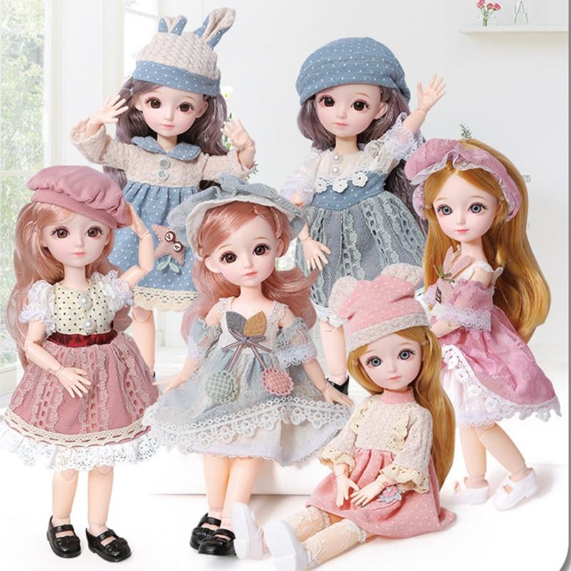 Neue 12 Zoll 22 Bewegliche Gelenke BJD Puppe 31cm 1/6 Make-Up Kleid Up Nette Braun Blau Augapfel Puppen mit mode Kleid für Mädchen Spielzeug