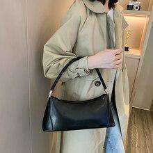 Small Shoulder Bags for Women PU Leather Baguette Bag Brand Mini Elegant Shoulder Bag Solid Color Totes Dropshipping elegant chains and solid color design shoulder bag for women