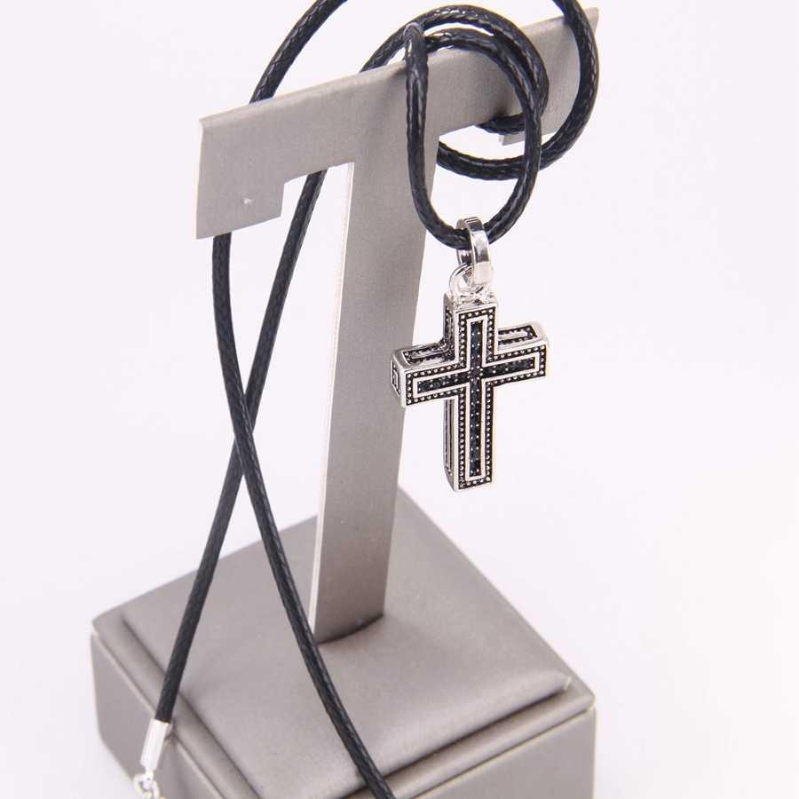 Thomas czarny cyrkon krzyż wisiorek i Faux Leather naszyjnik, Rebel biżuteria w kształcie serca dla kobiet mężczyzn TS my NB130