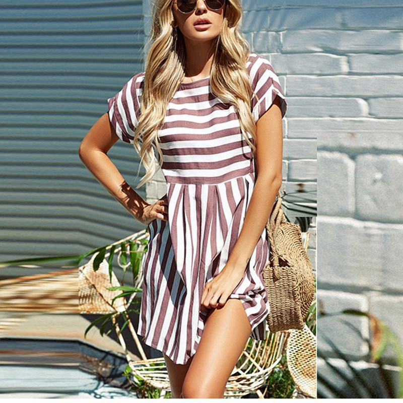 2018 <font><b>Women</b></font> Summer O-Neck Short Sleeve A-Line <font><b>Dress</b></font> <font><b>Pink</b></font> <font><b>Blue</b></font> Mini Style Beach <font><b>Dresses</b></font> <font><b>Sexy</b></font> Stripe Print Short <font><b>Dress</b></font> image