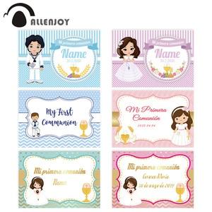 Image 1 - Allenjoy primeiro santo comunhão pano de fundo menino menina pontos listras festa fundo banner photocall fotografia decoração vinil
