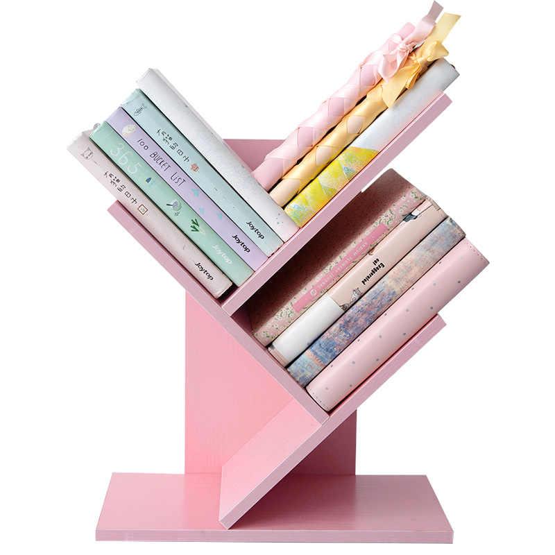 Kreative rosa bücherregal baum form holz multilayer bücher organizer desktop buchstützen studyroom schreibtisch zubehör büro suplies