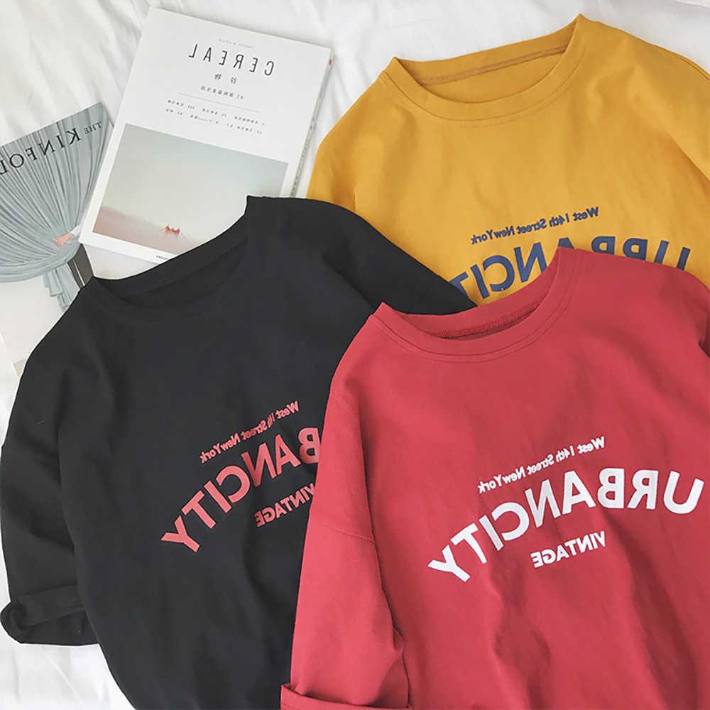 Red T-Shirt Donna Manica Corta Camicette Allentato Lettera di Stampa in Nero Bianco Estetica T Delle Donne Della Camicia di Estate di Modo Rosso Magliette E Camicette Della Ragazza tshirt