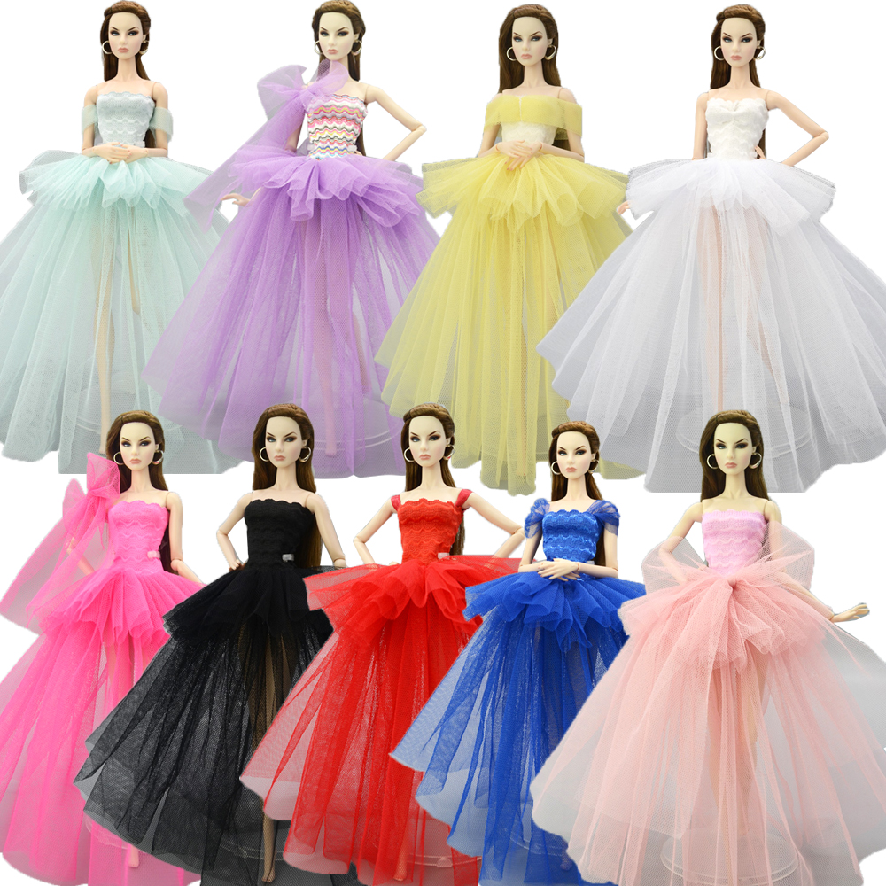 NK Mix Princess Doll Wedding Dress Fashion Lace Skirt Full Lace Clothes For Barbie Doll Accessories Toys Gift 05  JJ