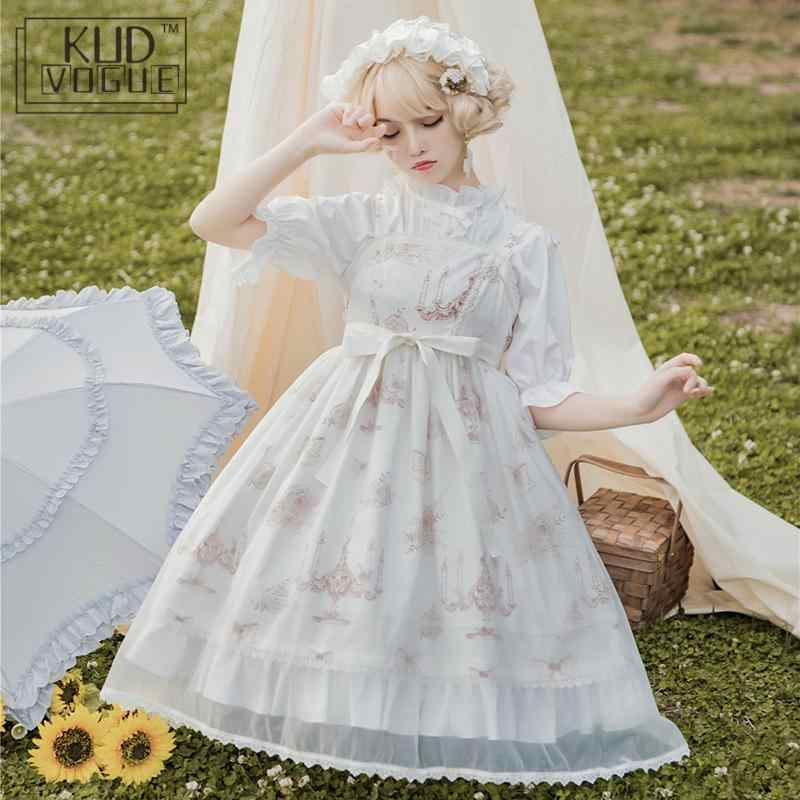 Japanese Sweet Lolita Dress Victorian Women Set Princess Vintage Harajuku Kawaii Lantern Sleeve Cute PrintingBowknot Party Dress