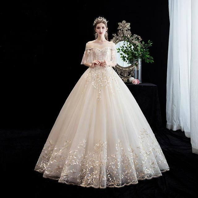 Wedding Dress 2019 Short Sleeve Boat Neck Light Champagne Lace Up Ball Gown Princess Luxury Lace Wedding Dresses Plus Size In Wedding Dresses From Weddings Events On Aliexpress