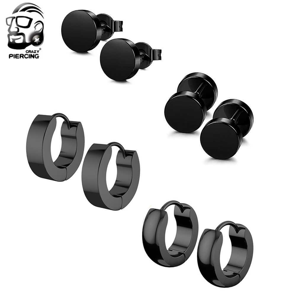 4 pares 4 tipos de brincos unissex preto aço rosegold piercing brinco para mulheres punk gothic barbell orelha anéis jóias do corpo