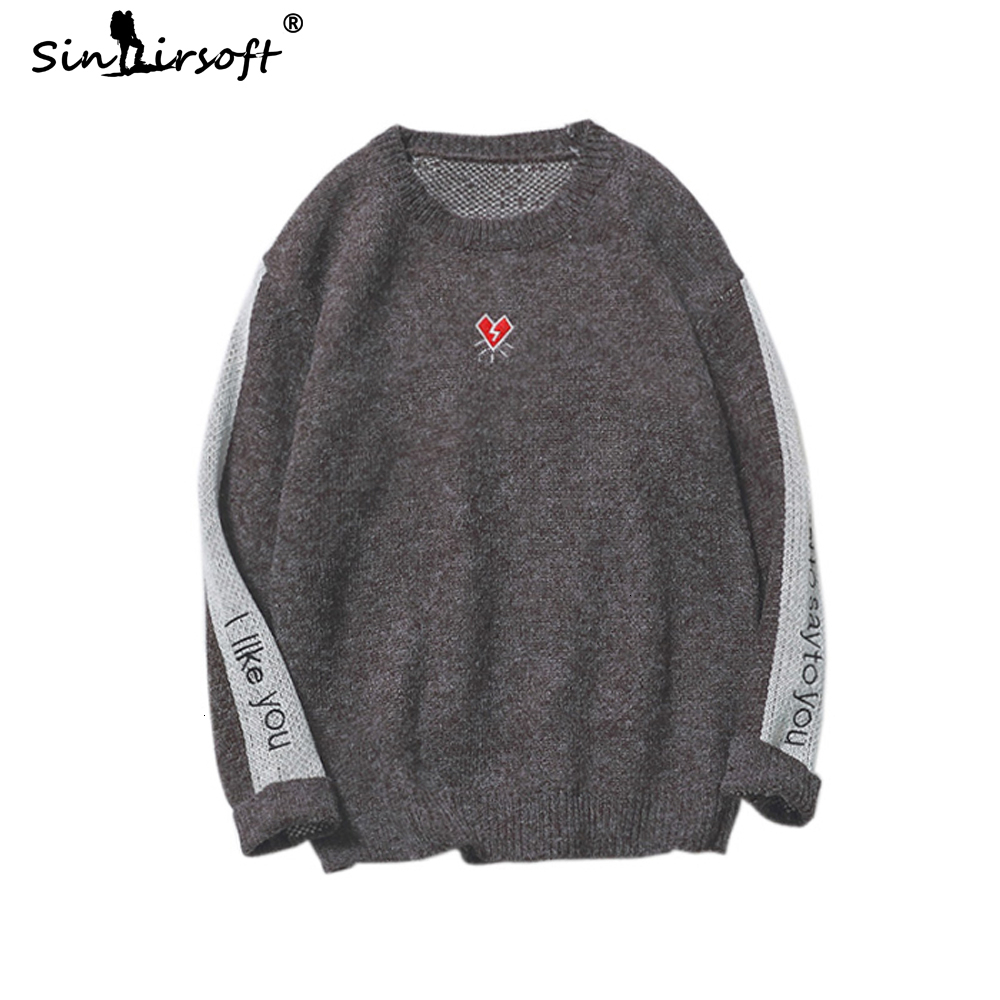 2019 Autumn Casual Men's Heart Broken Pattern Printing  Sweater Slim Fit Pullovers Male Side Striped Letter Printed Top Clothing