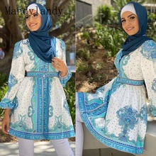 Tops Clothing Blouses Muslim Women Mandylandy Palace-Style Waist-Controlled Retro Malay