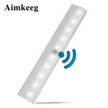 10 led sem fio pir sensor de movimento led night light armário portátil luz alimentado por bateria indução infravermelha iluminação de emergência