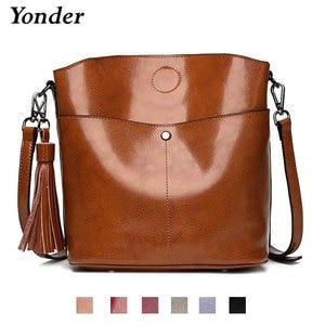 Image 2 - Yonder czarna torba crossbody kurierska damska torba z prawdziwej skóry kobieca torebka kubełkowa damska wysokiej jakości brązowe torebki