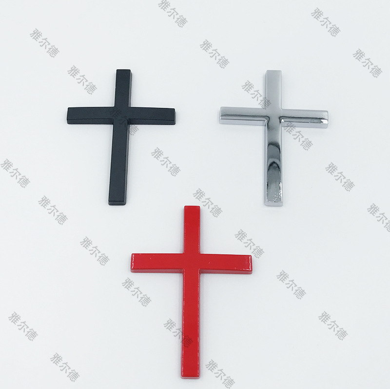 3D Metal Christian Cross Sticker Side Body Emblem Badge Decal Stickers Car Fender Rear Trunk window stickers Accessories