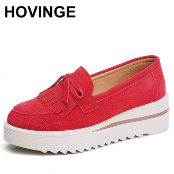 HOVINGE casual scrub women moccasins slip on lazy platform moccasins with fringes thick bottom wedge shoes woman bows zapatos