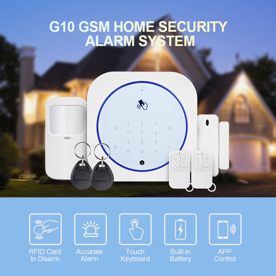 Towode  433MHz Smart Home Security Alarm System GSM Wireless APP Android IOS Control Touch Keyboard  Control