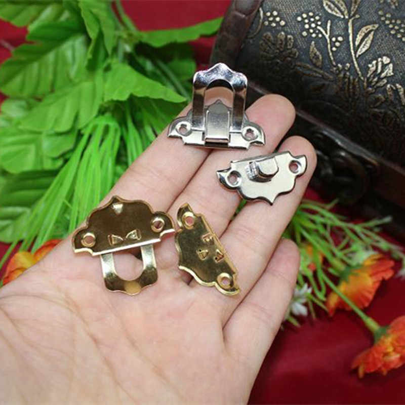 4 Pcs 30X30 Mm Besi Antik Kotak Perhiasan Gembok Pengait Terkunci Kayu Anggur Kotak Hadiah Tas Gesper Peralatan aksesoris
