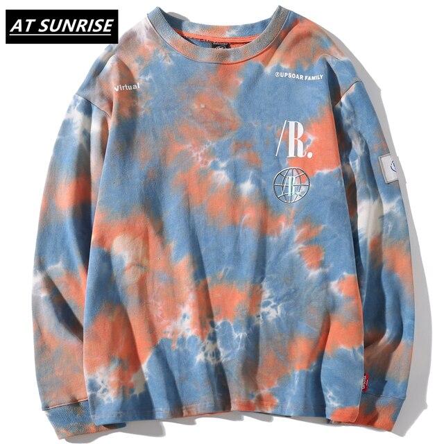 Casual Loose Tie Dye O Neck Hoodies Sweatshirts Mens Hip Hop Hipster Punk Rock Streetwear Hoodie Fashion Jumper print Tops