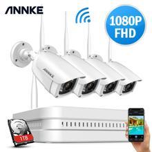 ANNKE 8CH 1080P FHD Wi Fi kablosuz NVR CCTV sistemi 4 adet IP kamera WIFI açık su geçirmez CCTV güvenlik kamera gözetim kitleri