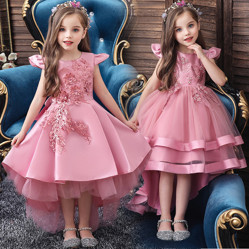 High Quality Elegant Girls Evening Tails Dress Embroidery Knee-Length Flower Girl First Official Party Communion Eucharist Dress
