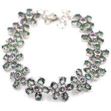 5x4mm Dazzling Flowers Fire Rainbow Mystic Topaz Woman's Party Silver Bracelet 8.0-8.5in