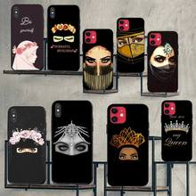 HPCHCJHM Arabic Hijab Girl Queen Crown Phone Case for iPhone 11 pro XS MAX 8 7 6 6S Plus X 5S SE 2020 XR case nbdruicai ottwn arabic hijab girl queen crown silicone phone case cover for iphone 11 pro xs max 8 7 6 6s plus x 5 5s se xr case