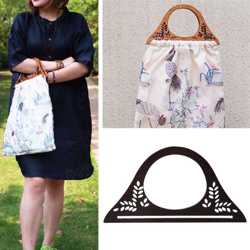 1 Pc Wood Handle Purse Frame Wooden Bag Handle DIY Handbag Replacement Bag Parts Accessories